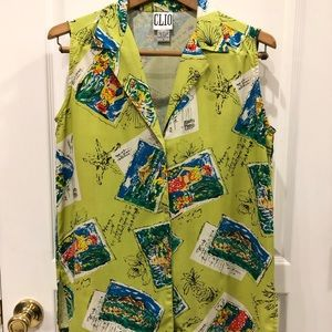 Vintage Clio Hawaiian Print Sleeveless Blouse Sz S